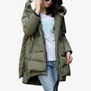 Orolay Duck Down Puffer Sherpa Coat S Green